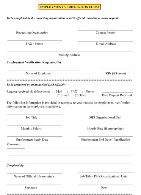 doc 718941 7 employment verification forms template