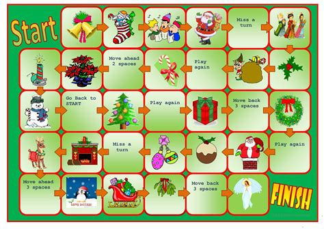 holiday board games printable christmas boardgame worksheet free esl printable
