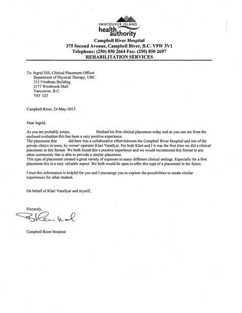 Thank You Letter For Physical Therapy Best Photos Of Physical Therapy Recommendation Letter Sle Physical Therapy School