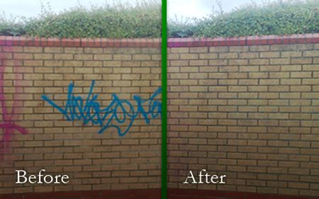 removing graffiti from brick