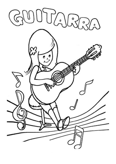 imagenes musicales con niños la guitarra para colorear