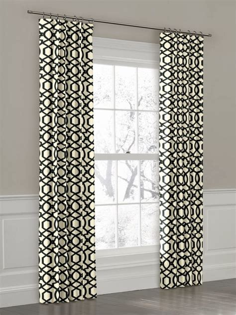 Black And White Trellis Curtains Custom Black And White Geometric Ring Top Drapery Panel Contemporary New York By Loom Decor