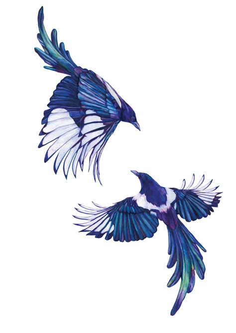 magpie tattoo design magpies two for signed gicl 233 e print jam