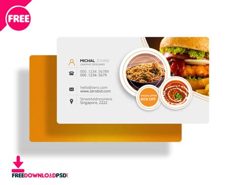 restaurant business cards templates free free restaurant business card psd freedownloadpsd