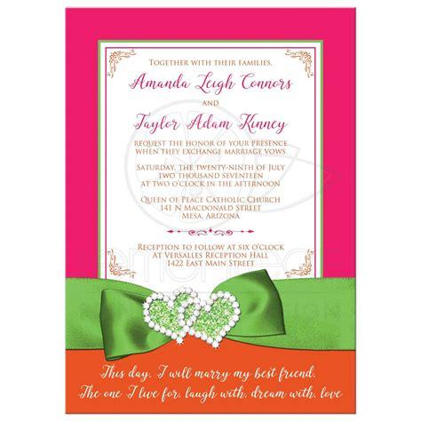 Tropical Wedding Invitation   Hot Pink, Orange, Lime