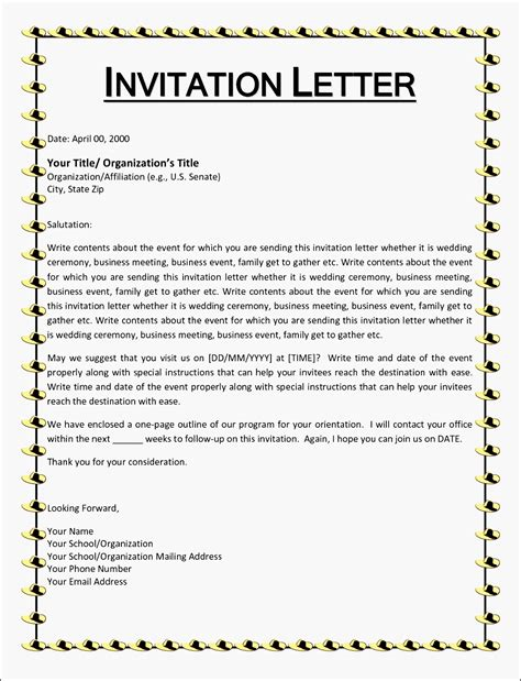 sle of formal invitation letter for an event invitation letter informal saevk beautiful wedding
