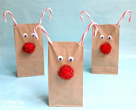 Reindeer Paper Bag Craft - reindeer treat bags kitchen with my 3 sons