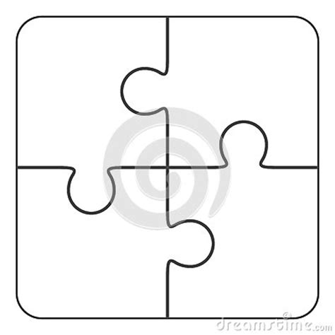 4 puzzle template jigsaw puzzle blank 2x2 four pieces stock illustration