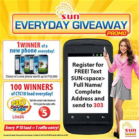 Promotional Giveaways 2014 - sun cellular everyday giveaway promo 2014 mechanics unlipromo