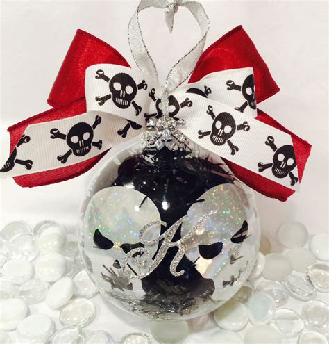 personalized skull head glass ornament halloween baubles