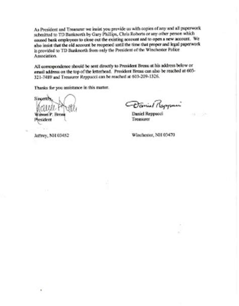 Bank Notification Letter Sle Winchester Informer October 2009