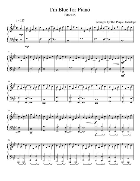i m blue by eiffel 65 for piano sheet music for piano