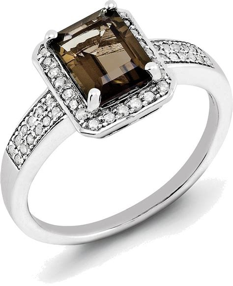 sterling silver rhodium smoky quartz ring qr3055sq