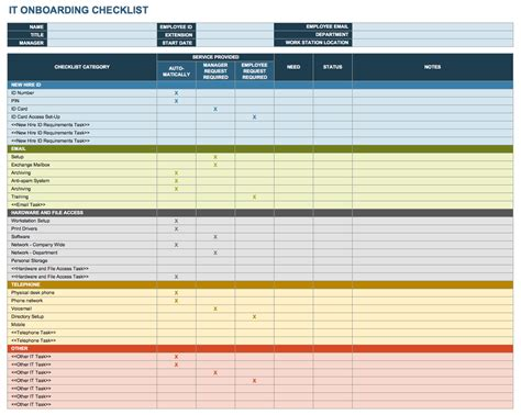 employee onboarding template new employee checklist template excel ic it onboarding