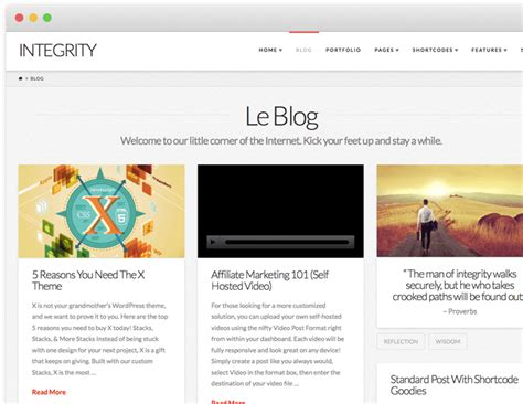 x theme blog layout integrity stack