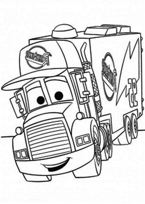 coloring pages cars trucks mack of car the pulling trailer coloring page