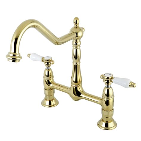 kitchen faucets for less kingston brass ks1172bpl 8 quot centerset kitchen faucet less sprayer polished brass kingston brass