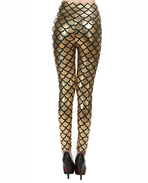 gold pattern leggings sexy gold fish scale pattern high waist leggings l10258