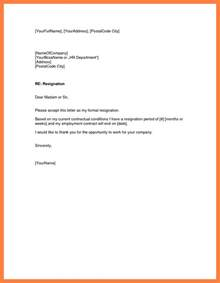 Exle Of Resignation Letter To Employer by 8 Exle Of Notice Letter To Employer Notice Letter