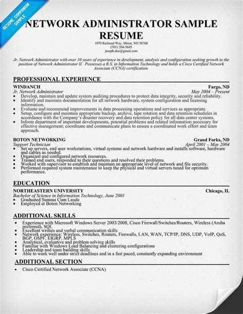 Network Administartion Sle Resume by Networking Administrator Resume Resume Ideas