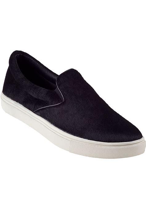 steve madden ecentric slip on sneaker black hair calf in