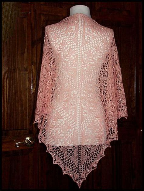 pattern for lace yarn quot nosegay quot beaded knit lace shawl in wool silk lace weight