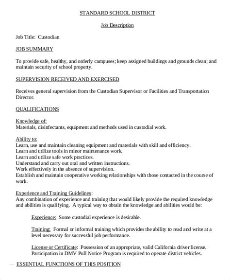 9 Janitor Job Description Templates Pdf Doc Free Premium Templates Janitorial Description Template