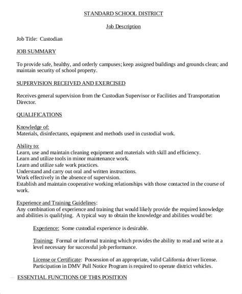 Janitor Resume Description by Janitor Description