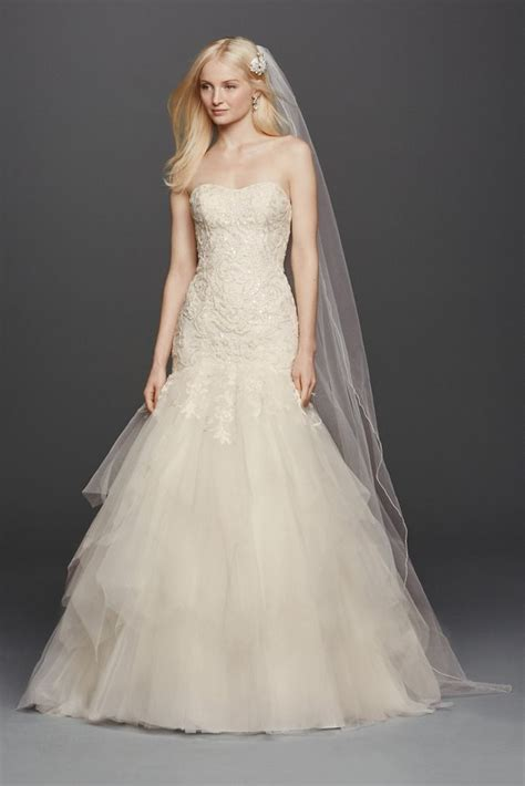 Drss 899 Dress Lace Pink oleg cassini strapless mermaid wedding dress style cwg737