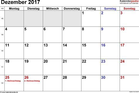 Calendar 2017 November And December Excel Kalender Dezember 2017 Als Excel Vorlagen
