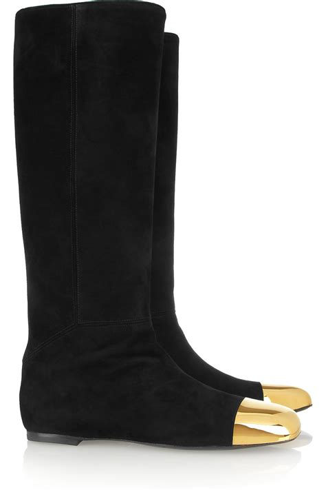 ysl boots yves laurent flat suede and metal boots