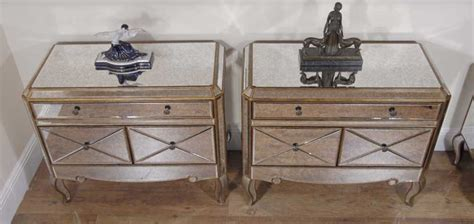 mirrored bedside table with one drawer pair funky art deco mirrored bedside chest drawers tables