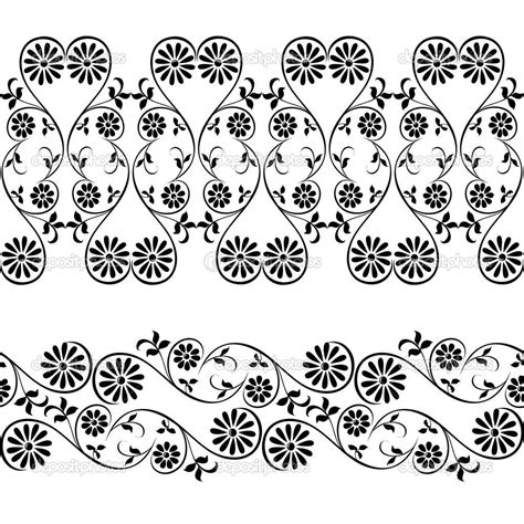 floral decorative element border and patterns vector - Border Decorative Element Patterns Vector