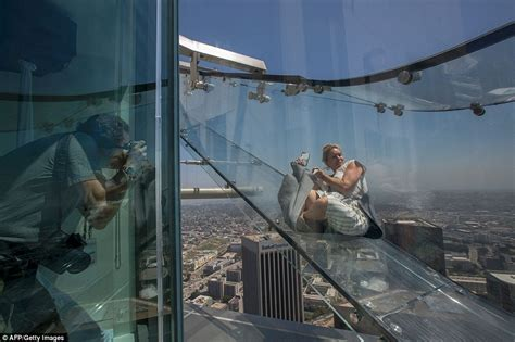 glass slide skyscraper skyslide opens the edge of the tallest building on the west coast daily mail