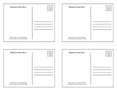 4 cards per sheet template postcard template 1