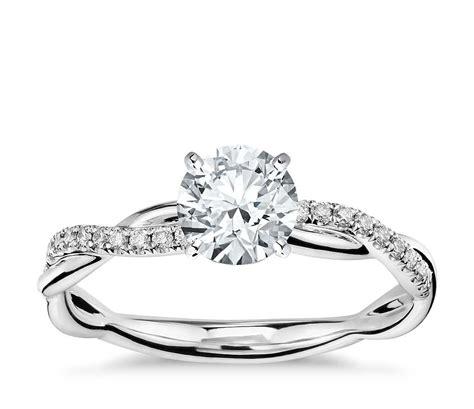 petite twist diamond engagement ring in 14k white gold