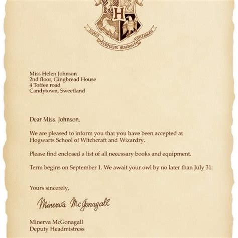 harry potter hogwarts acceptance letter printable