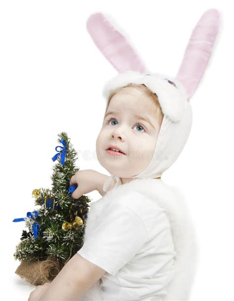 next new year rabbit new year kid in bunny costume royalty free stock images