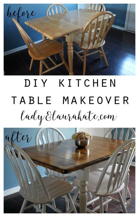Diy Paint Dining Room Table Painted And Stained Kitchen Table Makeover Kitchens Diy Furniture And House