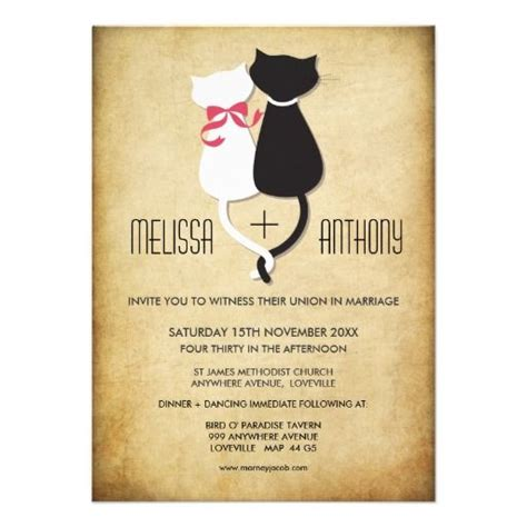 Cat Themed Wedding Invites by Vintage Cats Wedding Invitation Cat Wedding