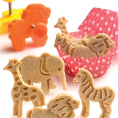 Cookies Cutter Animal Bulat animal pop out cookie cutters set of 4