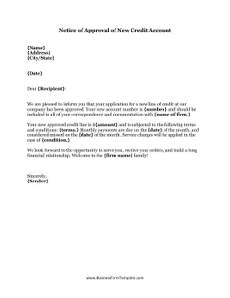 Letter For Approval Of Credit Application Notice Of Approval Of New Credit Account Template