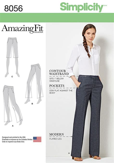 sewing pattern ladies trousers amazing fit miss and plus size flared trousers or shorts