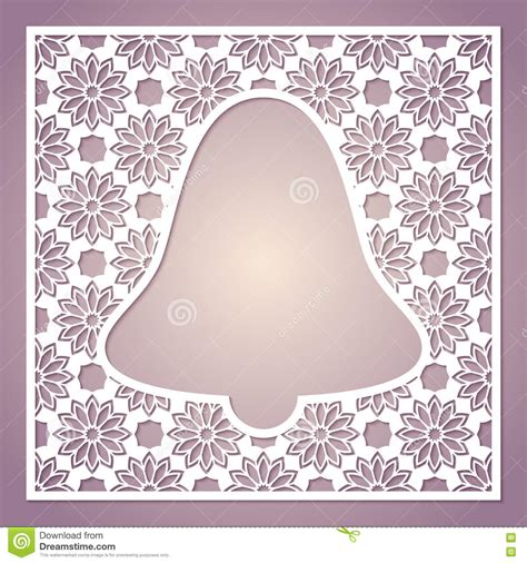 Openwork Square Frame With Bell Laser Cutting Template Stock Vector Image 79175101 Laser Cut Photo Frame Template