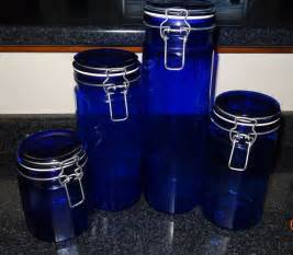cobalt blue glass vintage kitchen canisters matching set