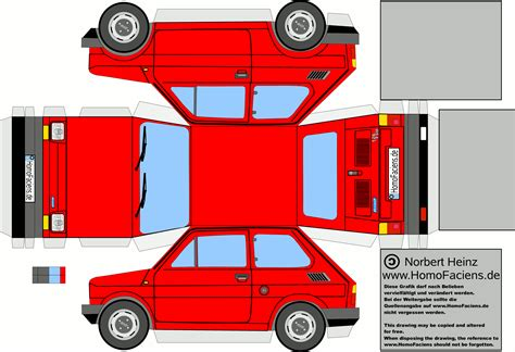 Paper Craft Cars - fiat 126 car paper craft fiat 126