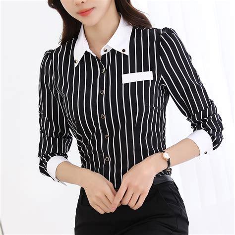 Kemeja Stripe Wanita 1 kemeja bergaris putih dan hitam beli murah kemeja bergaris