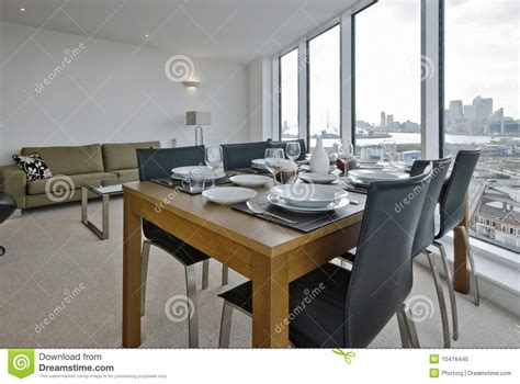 Dining Room Set Up by Living Room With Dining Table Set Up Royalty Free Stock
