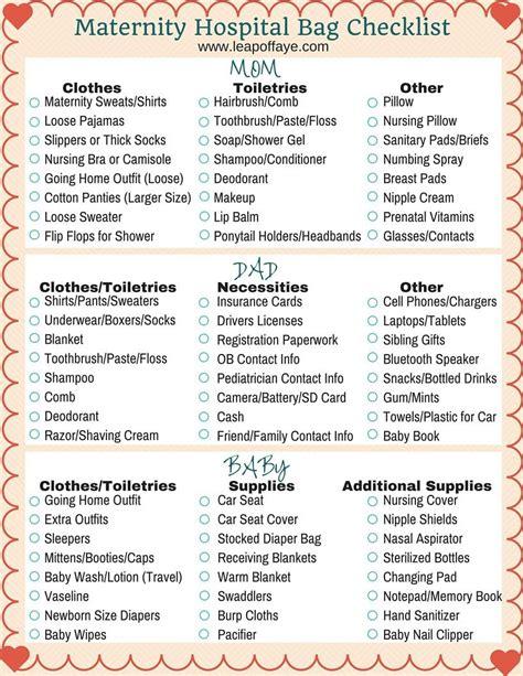 printable pregnancy to do list maternity hospital bag list free printable babies