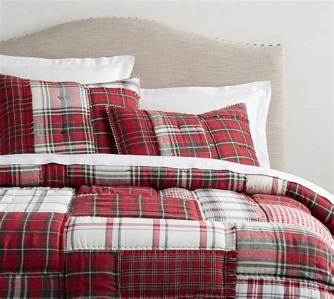 easton plaid patchwork quilt shams pottery barn